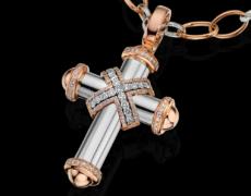 LeoCrosses, Kollier 750/- Gold mit Diamanten